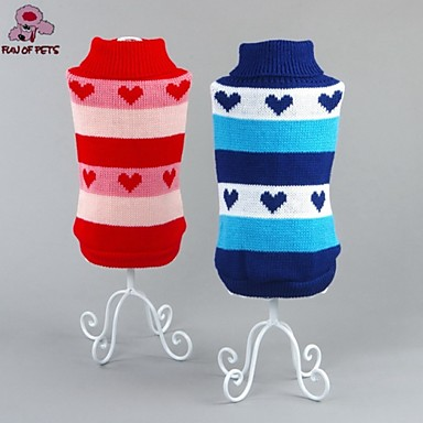 Cat Dog Sweater Dog Clothes Heart Red Blue Cotton Costume For Pets Men's Women's Casual/Daily