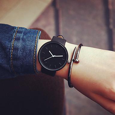 Men's Women's Couple's Fashion Watch Quartz Casual Watch Leather Band Minimalist Black