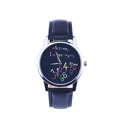 Mulheres Relógio de Moda Relógio de Pulso Quartzo Colorido PU Banda Casual Relógios com Palavras Preta Branco Branco Preto Preto/Branco