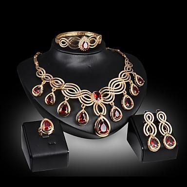 Mulheres Zircônia Cubica Conjunto de jóias Bracelete Brincos Colares Anél - Luxo Fofo Festa Fashion Corrente Caído Dourado Vermelho