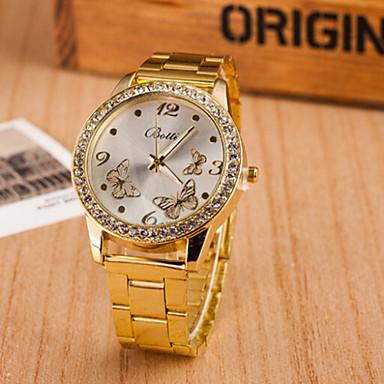 Masculino Mulheres Casal Relógio de Moda Quartzo suíço Designer Aço Inoxidável Banda Borboleta Dourada Dourado