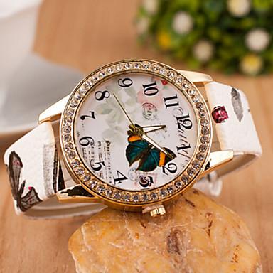 Mulheres Relógio de Moda Simulado Diamante Relógio Quartzo imitação de diamante Couro Banda Borboleta Branco Vermelho Marrom Cinza