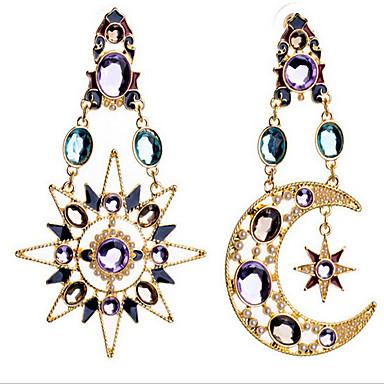 Γυναικεία Συνθετικό Diamond Κρεμαστά Σκουλαρίκια - Cubic Zirconia, Επιχρυσωμένο, Προσομειωμένο διαμάντι MOON Πολυτέλεια, Ευρωπαϊκό Χρώμα Οθόνης Για