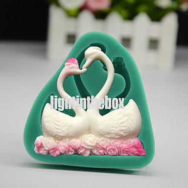 Namorados amor cisne par diy silicone chocolate pudim açúcar gelado bolo moldar cor aleatória