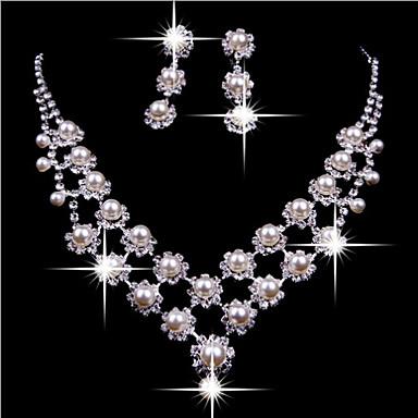 Dames Parel Imitatieparel Kubieke Zirkonia Verzilverd Gesimuleerde diamant Legering Tupsu Schattig Feest Dubbele laag Feest Verjaardag