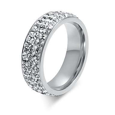 Dames Bandring - Titanium Staal Modieus 6 / 7 / 8 Zilver Voor Bruiloft / Feest / Dagelijks / Strass