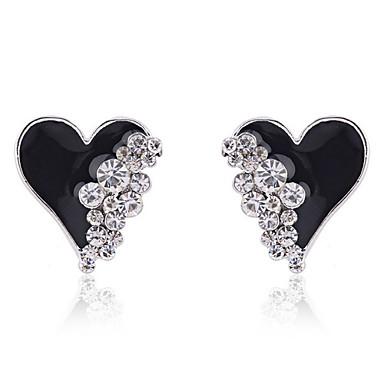 Oorknopjes Liefde Hart Modieus Kristal Verguld imitatie Diamond Hartvorm Wit Zwart Sieraden Voor Feest Dagelijks Causaal 2 stuks