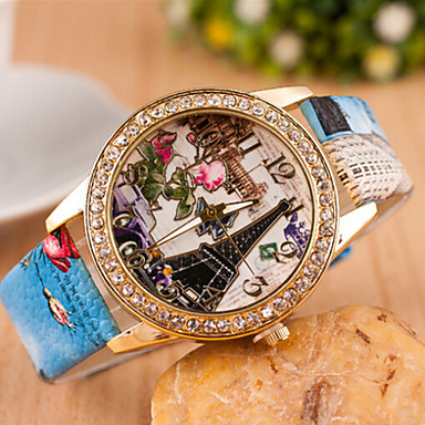 Dames Modieus horloge Gesimuleerd Diamant Horloge imitatie Diamond Kwarts Leer Band Wit Blauw Roze