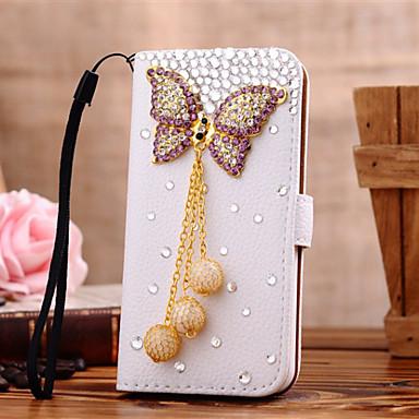 Para Samsung Galaxy Capinhas Porta-Cartão / Com Strass / Flip Capinha Corpo Inteiro Capinha Borboleta Couro PU SamsungS7 edge / S7 / S6