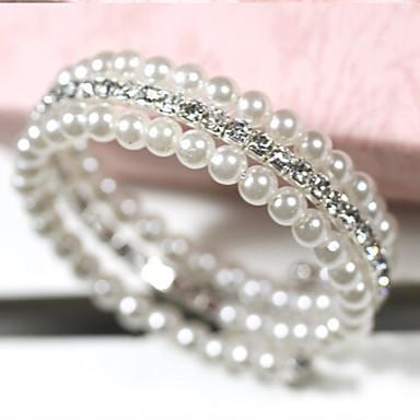 Dames Wikkelarmbanden Meerlaags Parel Imitatieparel Strass Gesimuleerde diamant Legering Sieraden Dagelijks Causaal Kostuum juwelen Wit