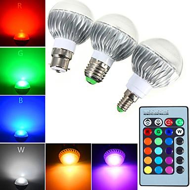 YWXLIGHT® 540 lm E14 GU10 E26/E27 B22 LED Λάμπες Σφαίρα A60(A19) 1 leds LED Υψηλης Ισχύος Με ροοστάτη Διακοσμητικό Τηλεχειριζόμενο RGB AC
