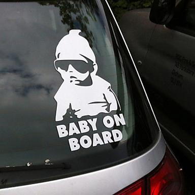 mode mooie baby aan boord waarschuwingssticker reflecterende waterdichte autoruit vinyl stickers kleur zwart wit