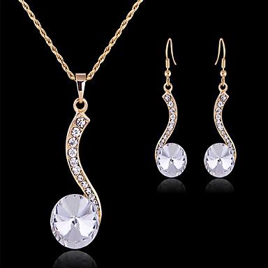 Conjunto de Jóias Fofo Festa Trabalho Europeu Pedraria & Cristal Zircônia Cubica Chapeado Dourado Imitações de Diamante Formato Circular