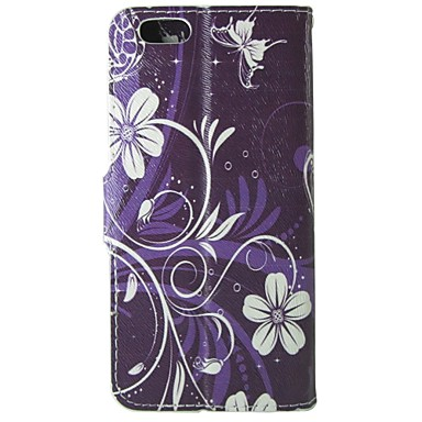 teste padrão roxo orquídea couro pu virar caso de proteção com pressão magnética e slot para cartão para o iphone 5c