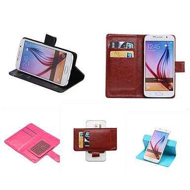 Недорогие Чехлы и кейсы для Galaxy S4 Mini-Кейс для Назначение SSamsung Galaxy S7 edge plus / S7 edge / S7 Бумажник для карт / со стендом / Флип Чехол Однотонный Кожа PU