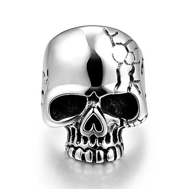 Erkek Yüzük Paslanmaz Çelik Kurukafa Mücevher Halloween Günlük Spor