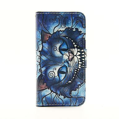 gato azul pu carteira de couro caso de corpo inteiro para o iPod Touch 5/6