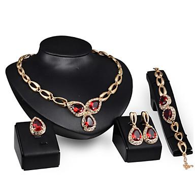 Női Ékszer készlet Divat Méretes ékszerek 18K arany Naušnice Nyaklánc Karkötő Gyűrű Kompatibilitás Parti Különleges alkalom Születésnap