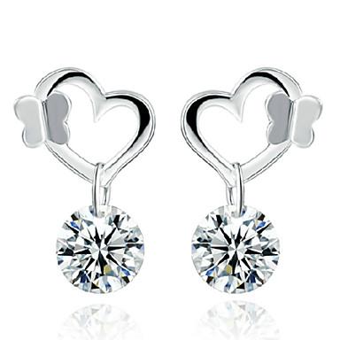 Mulheres Brincos Compridos Cristal Fashion Estilo bonito Prata de Lei Cristal Prateado Borboleta Animal Jóias Casamento Festa Diário