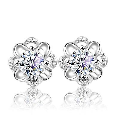 Mulheres Brincos Curtos Estilo bonito Fashion Prata de Lei Cristal Prateado Flor Jóias Prata Casamento Festa Diário Jóias de fantasia