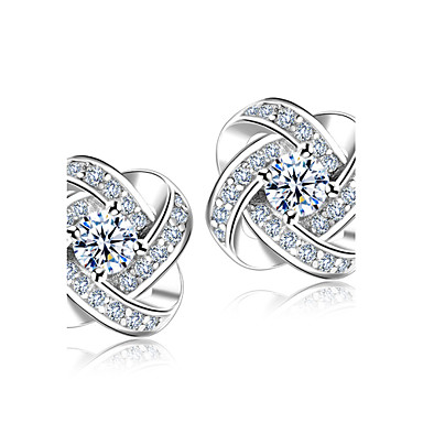 Heren Dames Oorknopjes imitatie Diamond Modieus Bruids Elegant Eenvoudige Stijl Kostuum juwelen Sterling zilver Kristal Strass Bloemvorm