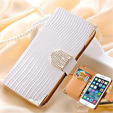 luxe portemonnee kaart kristal bling pu lederen tas strass telefoon beschermhoes voor iPhone 6 plus / 6s plus (verschillende kleuren)