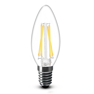 400 lm E14 LED 캔들 조명 C35 4 LED가 COB 밝기조절가능 따뜻한 화이트 AC 220-240V