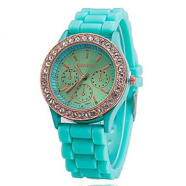 Mulheres Quartzo Relógio de Pulso Relógio Elegante Venda imperdível Rosa Folheado a Ouro Silicone Banda Amuleto Azul Vermelho