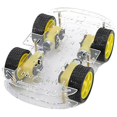 dual-layer 4-motor chassis do carro inteligente w / medição de velocidade codificado disco - preto + amarelo