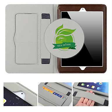 Capinha Para iPad Mini 3/2/1 Porta-Cartão Com Suporte Hibernação / Ligar Automático Capa Proteção Completa Sólido couro legítimo para