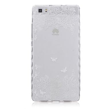 witte bloem patroon transparant TPU zachte hoes voor Huawei p8 lite