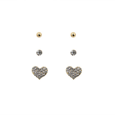 Oorknopjes Oorbellen set Liefde Hart Luxe Sieraden Strass imitatie Diamond Legering Hartvorm Sieraden VoorBruiloft Feest Dagelijks