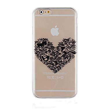 caso de volta caso da tampa do teste padrão do amor preto do telefone transparente para iphone6 / 6s