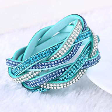Dames Leder Strass Gesimuleerde diamant Anderen Wikkelarmbanden - Luxe Uniek ontwerp Meerlaags Groen Blauw Lichtblauw Armbanden Voor