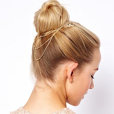 European and American Style Vane Leaves Tassel Chain Hair Claws
