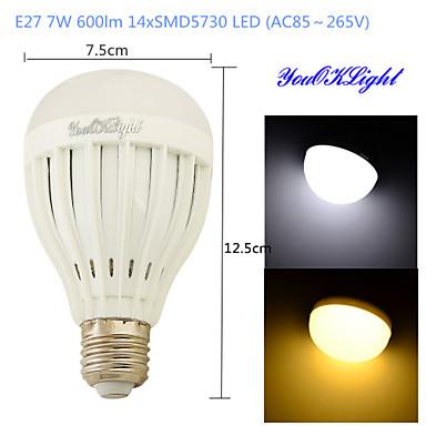 E26/E27 Lâmpada Redonda LED B 14 leds SMD 5730 Decorativa Branco Quente Branco Frio 600lm 3000/6000K AC 85-265V