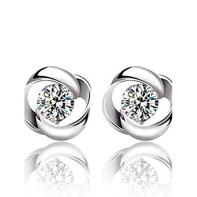 Brincos Curtos Moda Prata de Lei Cristal Prata Jóias Para Casamento Festa Diário 2pçs