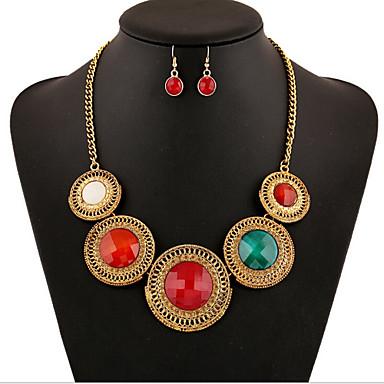 Mulheres Cristal Zircônia Cubica / Imitações de Diamante Conjunto de jóias Brincos / Colares - Luxo / Vintage / Festa Vermelho / Verde