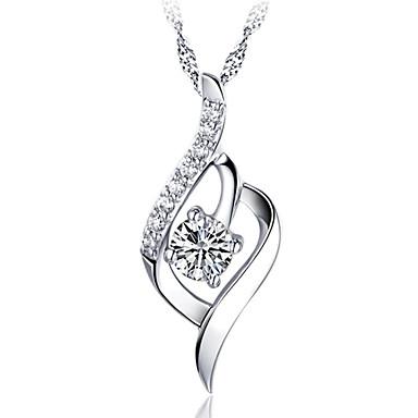 Mulheres Coração Prata de Lei Cristal Colares com Pendentes - Prata de Lei Cristal Básico Fashion Coração Colar Para Festa Obrigado