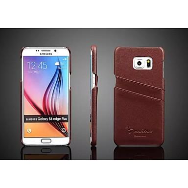 Para Samsung Galaxy Capinhas Porta-Cartão Capinha Capa Traseira Capinha Cor Única Couro Legitimo Samsung S6 edge plus