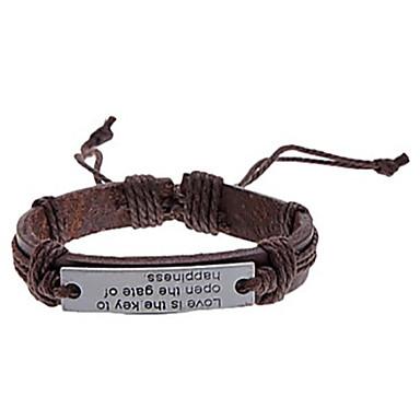 Heren Leder Verzilverd Lederen armbanden - LOVE Koffie Armbanden Voor Feest Dagelijks Causaal