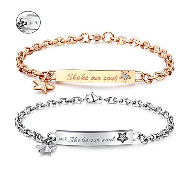 Valentijnsdag geschenken gepersonaliseerde sieraden liefhebbers van titanium staal goud / zilver armbanden (een paar)