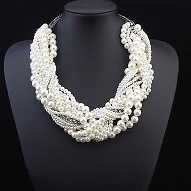 Női Gyöngy Nyilatkozat nyakláncok Többrétegű Sodrott Nyilatkozat hölgyek Luxus Gyöngy Ötvözet Fehér Nyakláncok Ékszerek Kompatibilitás Esküvő Parti Különleges alkalom Szerepjáték jelmezek