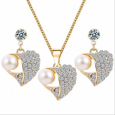 Dames Sieraden Set Parel Imitatieparel Kubieke Zirkonia Gesimuleerde diamant Roos verguld Legering Hart Luxe Schattig Feest Liefde Modieus