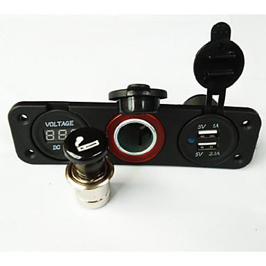 economico Componenti dell'accensione-Lossman auto / nave auto doppio USB Charger + veloce della sigaretta automatico accendisigari + voltmetro digitale