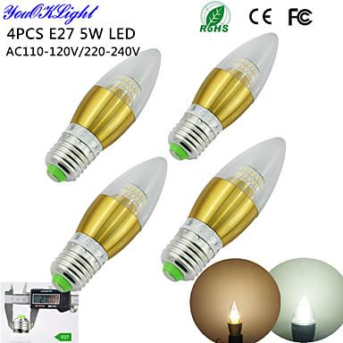 E26/E27 Luzes de LED em Vela C35 50 leds SMD 3014 Decorativa Branco Quente Branco Frio 450lm 3000/6000K AC 110-130 AC 220-240V