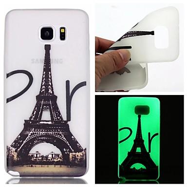 Voor Samsung Galaxy Note Glow in the dark hoesje Achterkantje hoesje Eiffeltoren TPU Samsung Note 5