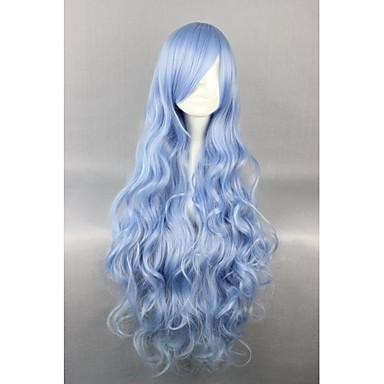 Perucas Lolita Doce Azul Elegant Perucas Lolita 90 CM Perucas de Cosplay Cor Única Perucas Para