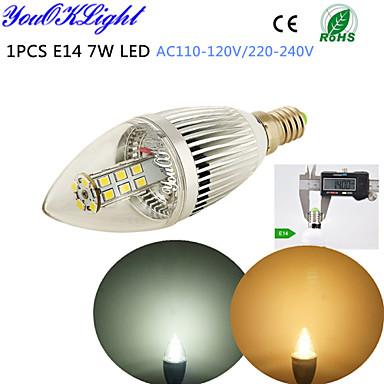 5W E14 Luzes de LED em Vela C35 28 leds SMD 2835 Decorativa Branco Quente Branco Frio 400-450lm 3500/6500K AC 110-130 AC 220-240V