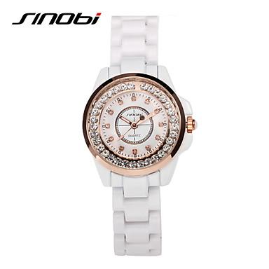 SINOBI Mulheres Relógio de Moda Relógios Femininos com Cristais Quartzo Impermeável Lega Banda Elegant Branco